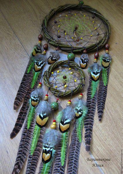"""Ловцы снов ручной работы. Ярмарка Мастеров - ручная работа. Купить Ловец снов """"Лесной"""". Handmade. Зеленый, индейский оберег"""
