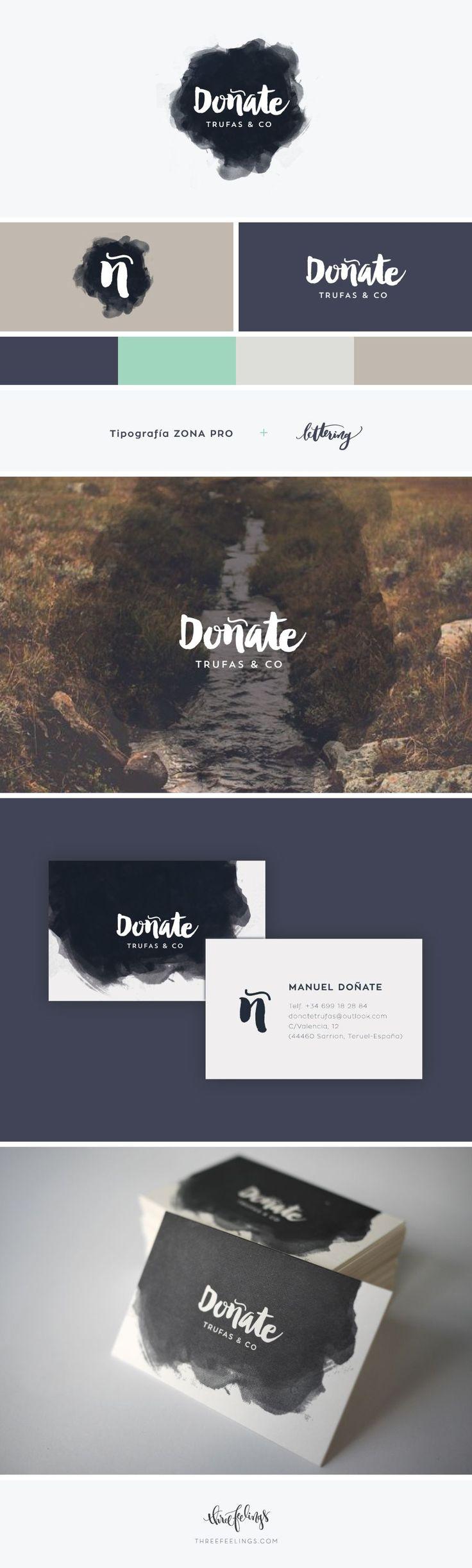 Creación de la identidad visual de Doñate, una empresa de Teruel dedicada a las trufas. También se han diseñado las tarjetas corporativas, que se han impreso en letterpress.
