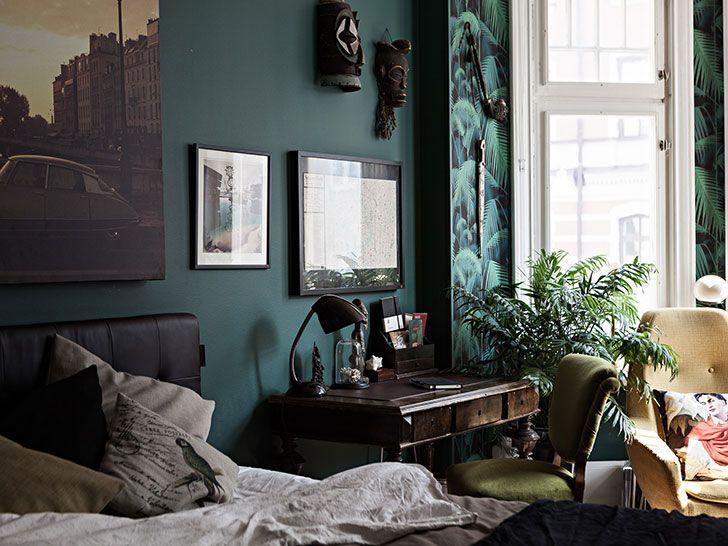 Apartment With Interesting Retro Interiors In Stockholm Photos Ideas Design Modern Apartment Decor Turquoise Bedroom Walls Retro Bedrooms Turquoise vintage bedroom ideas