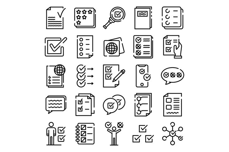 Checklist icons set, outline style By Ylivdesign