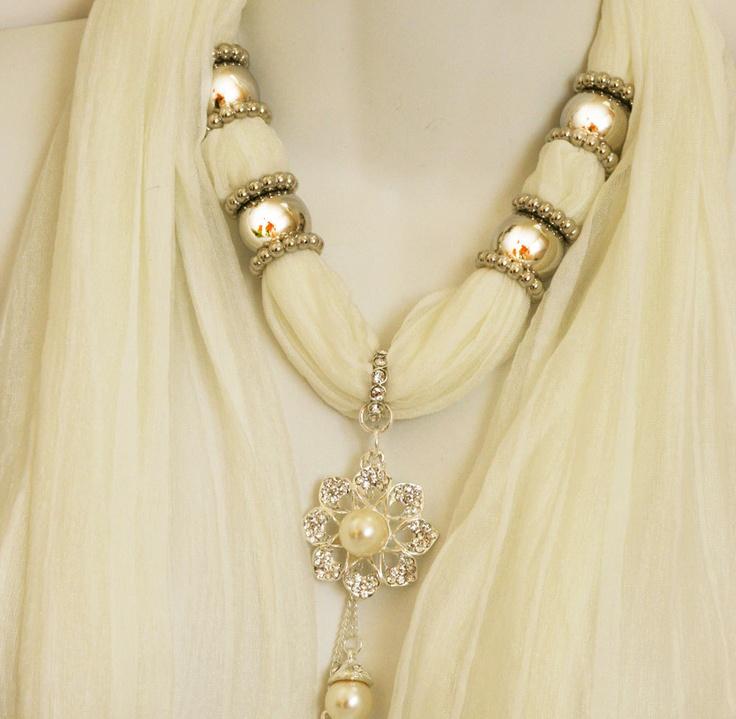 Wedding Accessories Cream Scarves Diamante Necklace Scarf Bride's Scarf. $25.00, via Etsy.