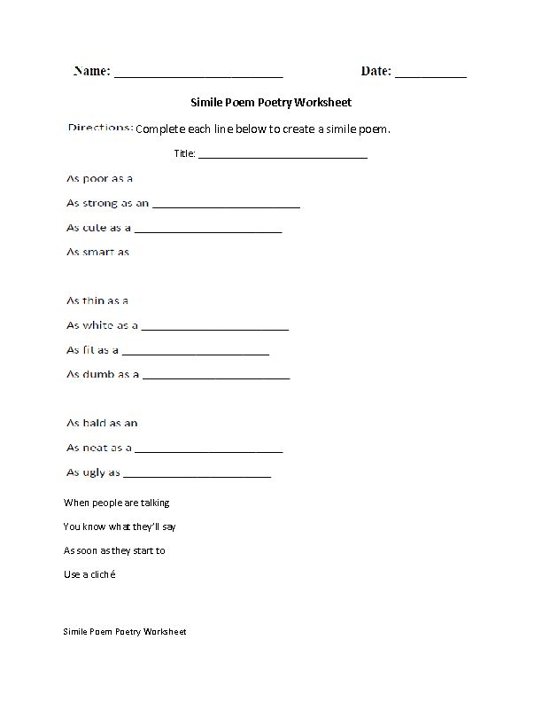 Simile Poem Poetry Worksheet