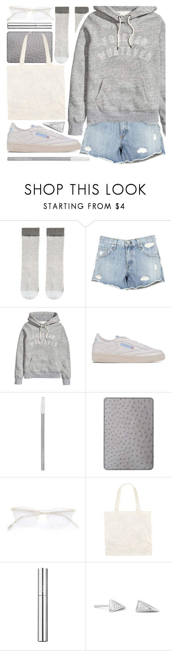 """forever whatever"" by foundlostme ❤ liked on Polyvore featuring rag & bone, Reebok, Lancôme, Maison Takuya, Oliver Peoples, RMK, BillyTheTree, denimshorts and distresseddenim"