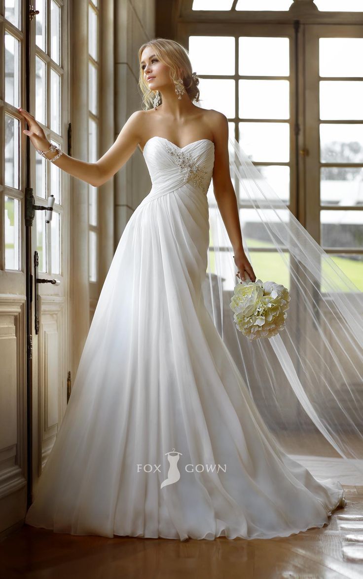 Strapless Sweetheart A-line Empire Asymmetrical Pleated Wedding Dress with Crystal Detailing