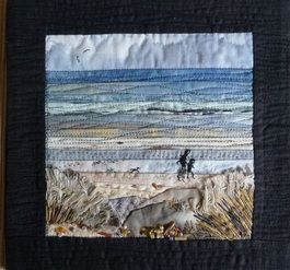 Landscape Quilt - Watching two figures walking along a Lincolnshire beach in the winter | Llangollen Quilt Fest 2011 by Sandra Goldsbrough