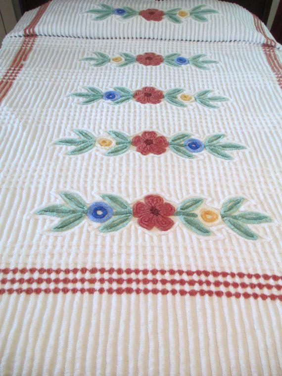 vintage chenille bedspread full double mocha brown white green blue flowers heavy - Chenille Bedspreads