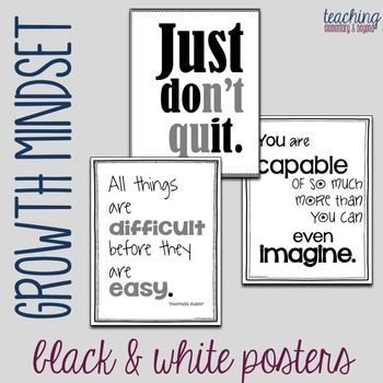 Teachers! Provide inspiration for for your kids! These growth mindset posters are full of quotes to help motivate and change the perspective of your students! These will look great on your bulletin boards in your classroom and can help your students develop great life skills for learning. These black & white posters are perfect for printing on a budget!