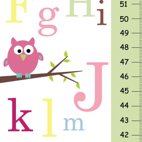 Personalize Growth Chart  ABC pink owl  Baby by KidODesignStudio, $33.00