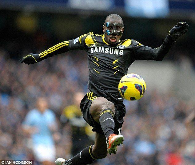 Masked man: Demba Ba in full flight