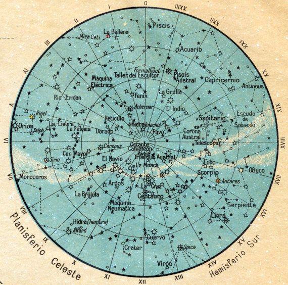 1940 Spanish Vintage Cosmography Print No. 3 / Figuras de Cosmografia $30