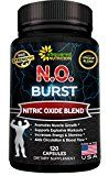N.O. BURST  Best Nitric Oxide Supplement with L-Arginine & L-Citrulline (120 Capsules)  Nitric Oxide Boosters Pills for Endurance Energy Cardio Heart Health Build Muscle & Strength