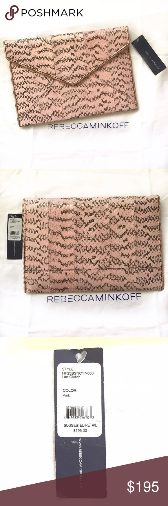 """REBECCA MINKOFF Leo snake pink envelope clutch The Sunday Leo blush pink snake clutch is the perfect sidekick for a night out. It features interior credit card slot so you don't need to bring your wallet out. Comes with tag and dust bag. / size : 11"""" x 8""""  Color: Blush pink snake (close up pics show the color better)  ✉️Envelope Snap closure ✉️Interior slip pocket ✉️Custom Gold Hardware ✉️Exclusive lining ✉️100% Embossed Leather Rebecca Minkoff Bags Clutches & Wristlets"""