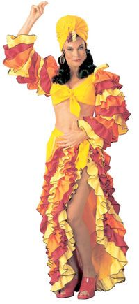 Yellow and Orange Spanish Calypso Costume – Mexican or Spanish Costumes