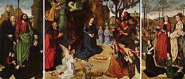 Гуго ван дер Гус, «Вівтар Портінарі», 1475 р. 253 x 586 cm італ. Trittico Portinari Галерея Уффіці