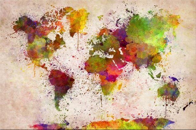 World Map Graffiti Style Paint Splatter Poster 24 x 36