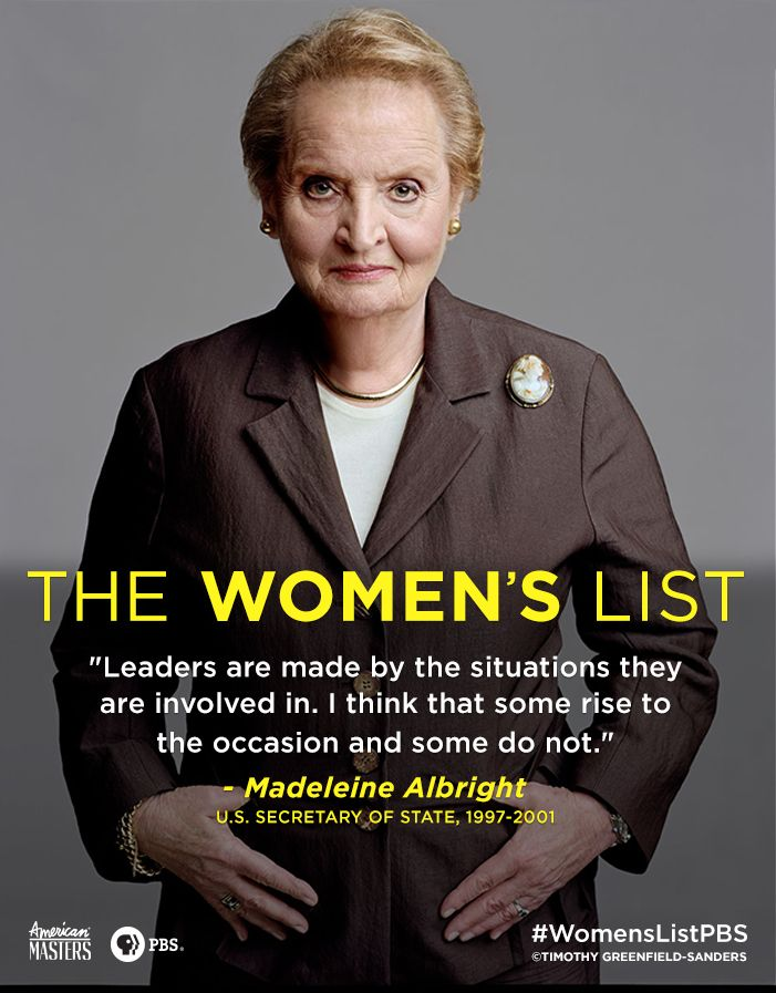 Powerful words from U.S. Secretary of State Madeleine Albright. Learn more with AMERICAN MASTERS.