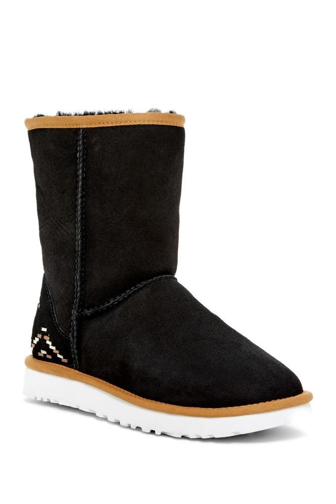 91d80032094 UGG Australia Classic Short Rustic Weave Black Boot Womens 1094330 ...