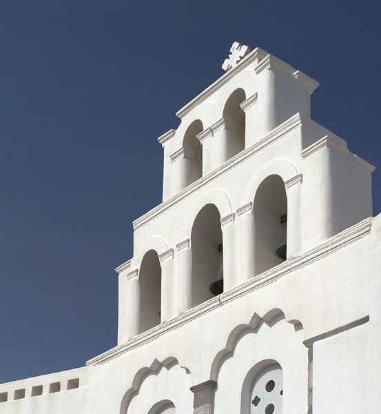 Bell tower of a church in Pyrgos, Santorini island