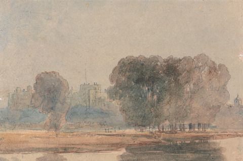 attributed to David Cox, 1783–1859, British, Windsor Castle from the Brocas, early 19th century, Graphite and watercolor on thick rough cream wove paper, Yale Center for British Art, Paul Mellon Collection