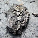 Graphite Ore Tailings at Graphite Mine; Ground rock with graphite; semimetal native element