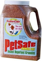 Red cedar granules will repel insects including fleas, chiggers, bull gnats, mosquitoes, horseflies, ants, and biting scorpions.