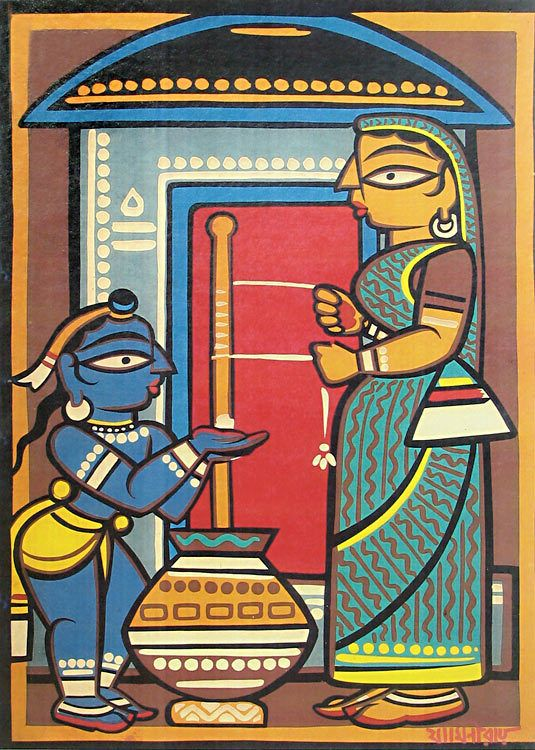 Mother Yashoda and Krishna (Jamini Roy Reprint on Cardboard - Unframed))