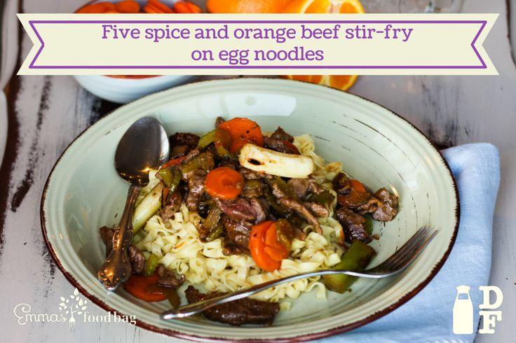 Five spice and orange beef stir-fry  on egg noodles