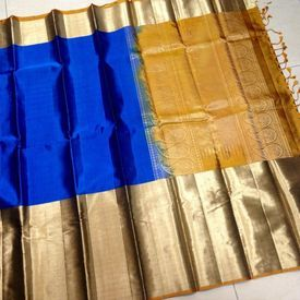 KSS3900008-THAMBOORI s Handwoven Soft Kanchivaram-Long border-Blue mustard, 800g