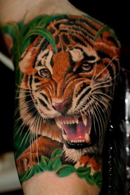 Tattoo-Foto: Tiger Innenarm, 5 stunden Arbeit