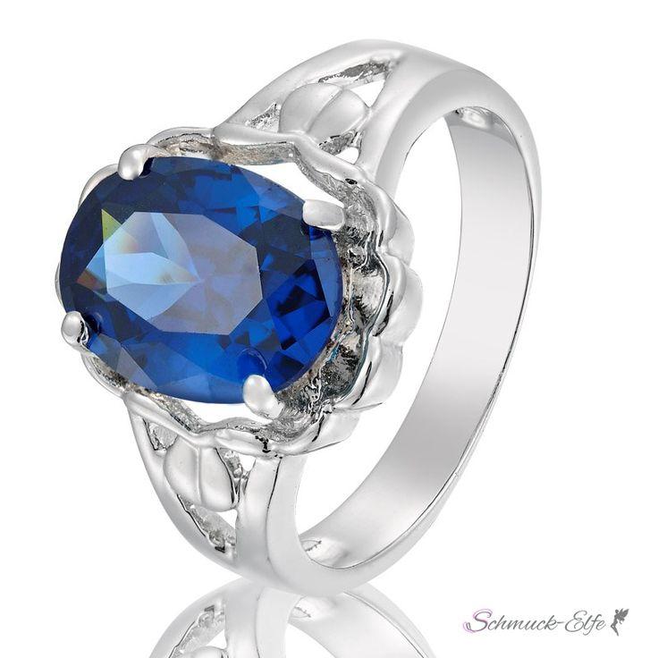 Ring blauer Saphir mit 18 K Weißgold vergoldet im Etui, 24,99