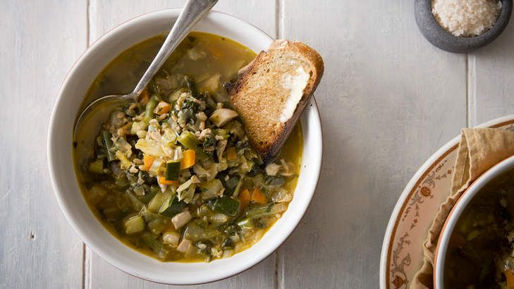 Soup for the soul: Add any herbs to the stock to enhance this chicken and barley soup.