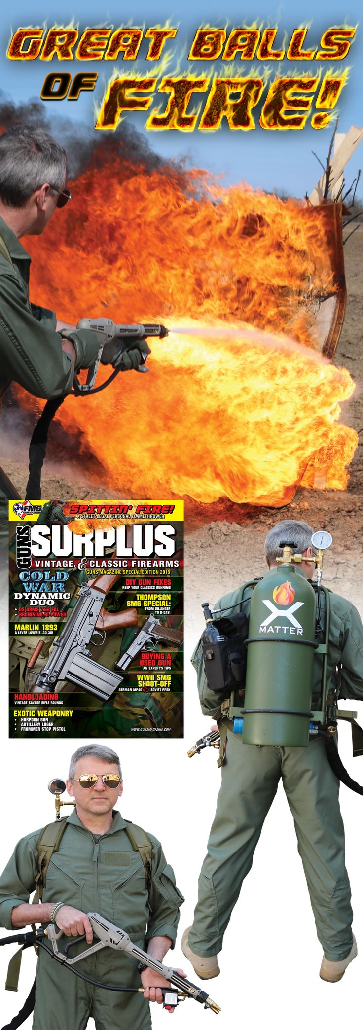 """A Street Legal Personal Flamethrower   Hot fun with the Xmatter X15   Find any gathering of real men, drag out the X15 and ask, """"Who's next on the flamethrower?"""" You'll have more friends than you can stand. Read why the X15 may need to go to the top of your surplus list.   © GUNS Magazine Surplus 2018"""