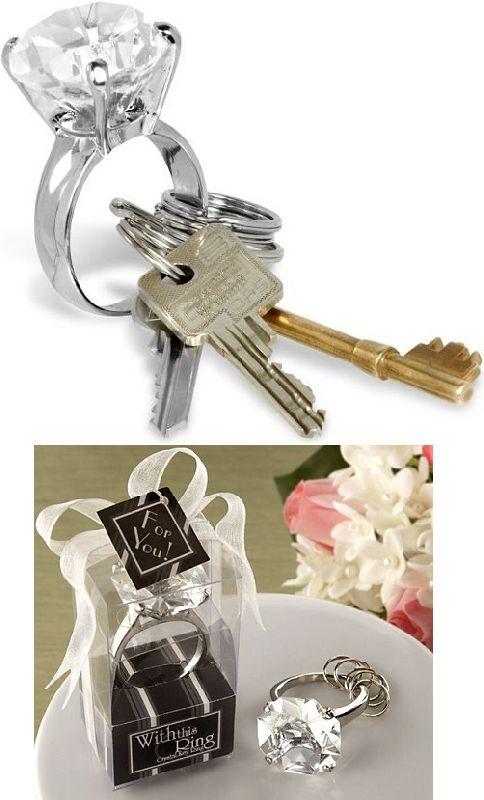 Gyémánt gyűrű kulcstartó. Minden nő megérdemelne élete során legalább egy gyémánt gyűrűt, csak hát sajnos nagyon kevés férfi tudja megadni ezt a szíve hölgyének. Ez a kulcstartó ideális speciális ajándékok átadásához. Pl. ha összeköltöznél a pároddal, akkor add oda ezen a lakás kulcsait!