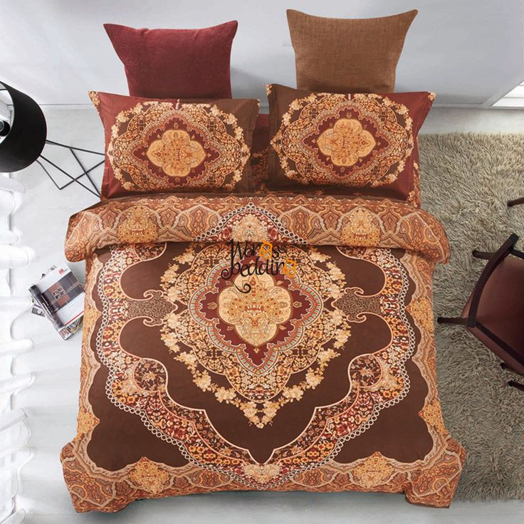 Bohemia/boho bedding set flower duvet cover set spring comforter cover home bed sheet 4pcs fashion bed set Euro brown bed linen