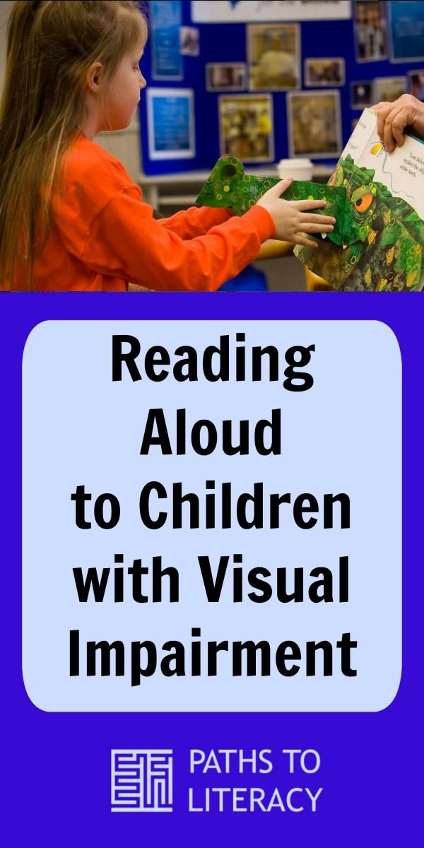 Collage of reading aloud to children with a visual impairment