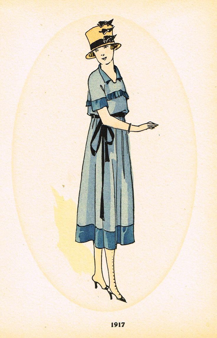 "La Mode Feminine Fashion Plate- """"1917 B"""" - Chromolithograph - c1920"