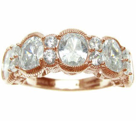 Judith Ripka 14K Rose Gold Clad & Diamonique Ring