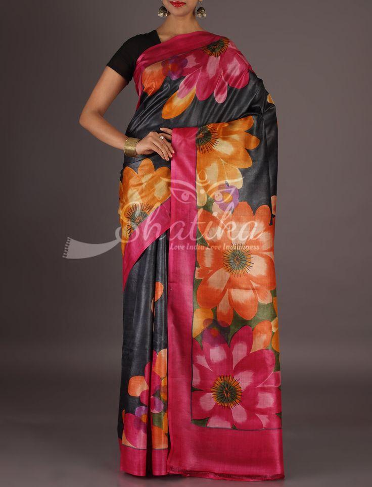 Rima Blossom Of Colorful Flowers On Border Pallu Handpainted Kosa Silk Saree
