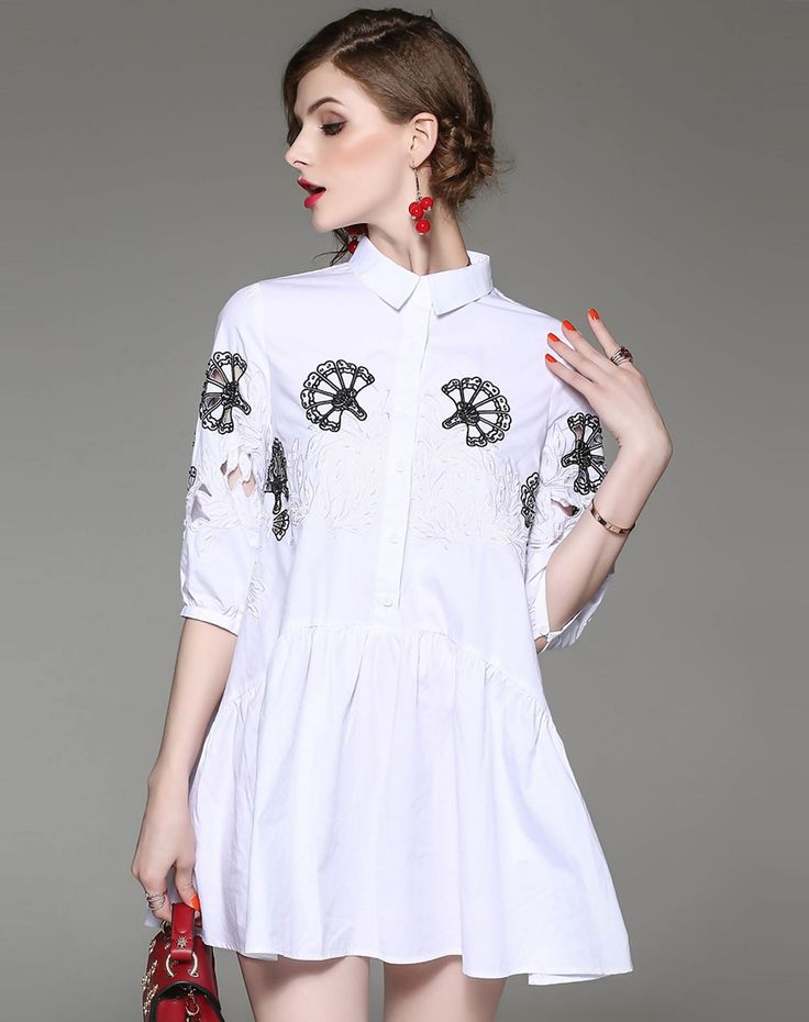 #VIPme White Cotton Embroidery A Line Short Shirt Dress ❤️ Get more outfit ideas and style inspiration from fashion designers at VIPme.com.