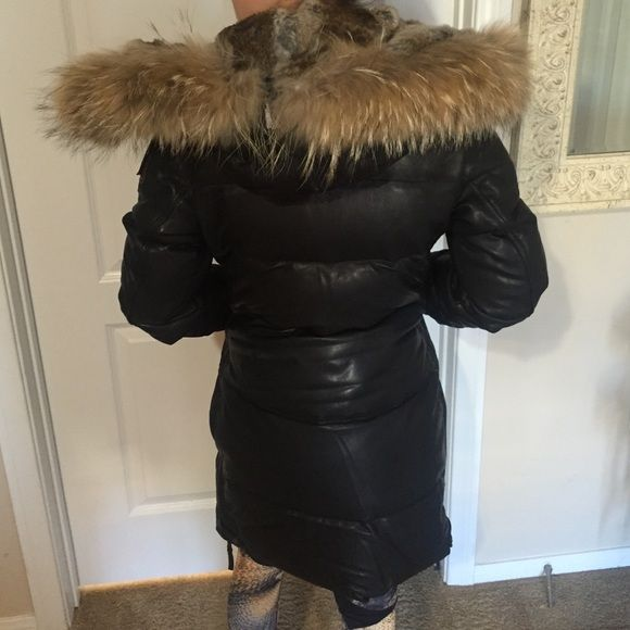 Parajumpers bomber leather trench coat All leather real fur hood brand new never worn Parajumper Jackets & Coats Trench Coats