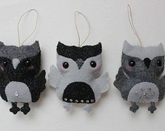 Set of Three Sparkly Grey and Black Owl Felt Ornaments, Christmas ornaments, Felt toy, Christmas gift, tree ornament, Nursery decor