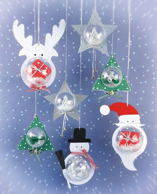 maak om de transparante bal een kerst of wintersfeer-figuur. Kies voor een sneeuwpop of een kerstman! download de figuren op de site!
