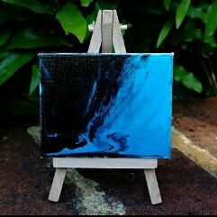 "Mini abstract painting on a canvas measuring 8cm x 10cm.   Mini wooden easel included.   Perfect to display on a shelf or desk.  Titled ""Blue Monday Morning"" by Australian artist Tracey Everington of Tracey Lee Art Designs."
