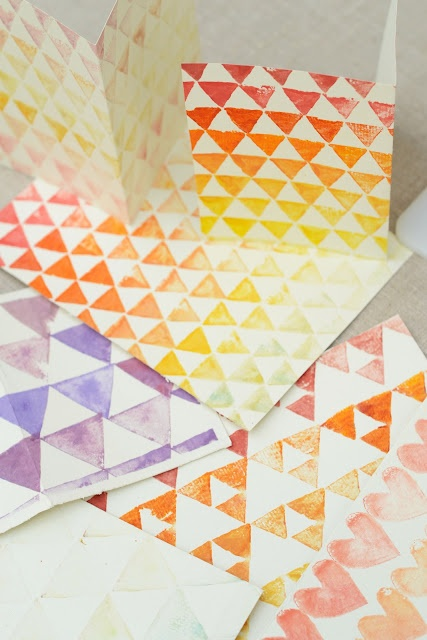 Colourful Potato print ideas for DIY Postick Postcards