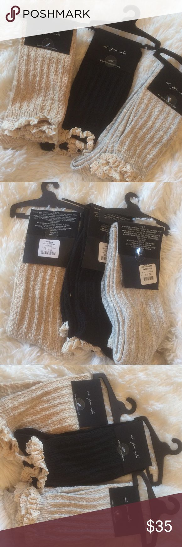 3 Urban Outfitters Out From Under Knee High Stocks Three pairs of Out From Under Knee High Socks from Urban Outfitters. Three colors available. Please specify your choice. Black/Tan/Gray. Urban Outfitters Accessories Hosiery & Socks