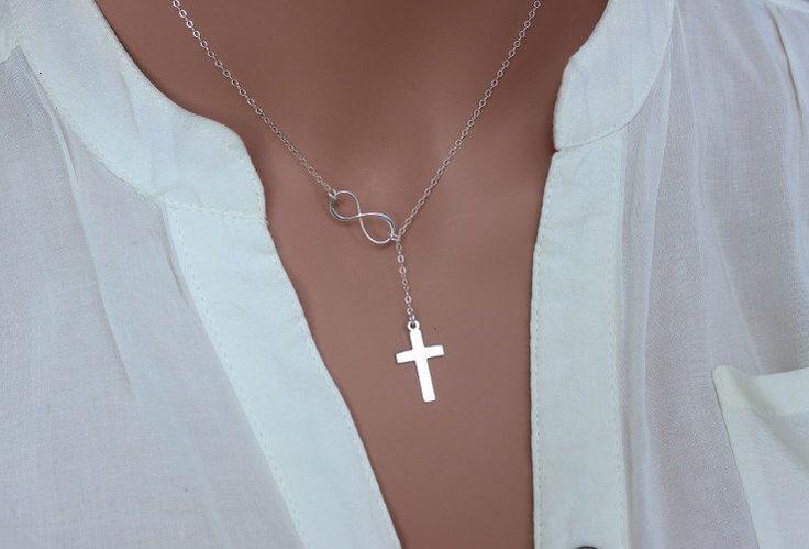 Infinity Cross Lariat Necklace, Celebrity Cross Necklace, Celebrity inspired gold sideway cross necklace, Cross lariat necklace, Y necklace by rainbowearring on Etsy https://www.etsy.com/listing/212730100/infinity-cross-lariat-necklace-celebrity