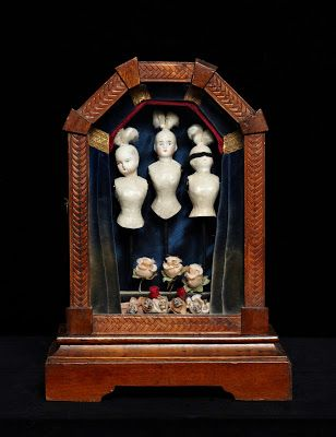 Do you Know Nothing - assemblage, curiosity box, antique doll heads