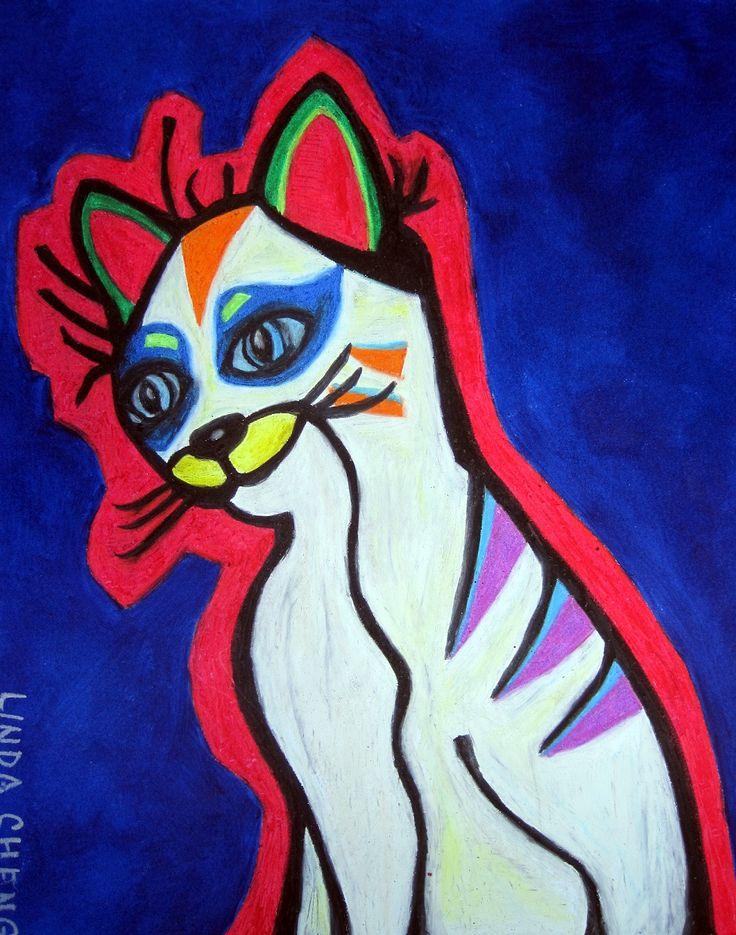 "Pop Art Cat 18x12"" By Linda Cheng Categories: #Cat, #catart, #catpainting, #Animalpainting, #oilpainting, #painting, Cat , #Catdrawing, #originalpainting, #contemporaryart, #abstractart, #modernart, #contemporarypainting, #abstractpainting, #popart By Linda Cheng www.linda-cheng.com"