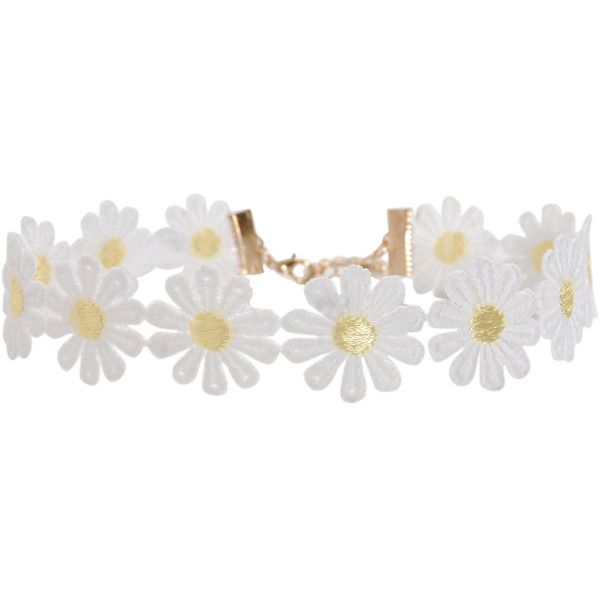 Humble Chic NY Daisy Crochet Choker ($24) ❤ liked on Polyvore featuring jewelry, necklaces, white, crochet flower necklace, floral bib necklace, crochet choker necklace, white choker necklace and crochet necklace