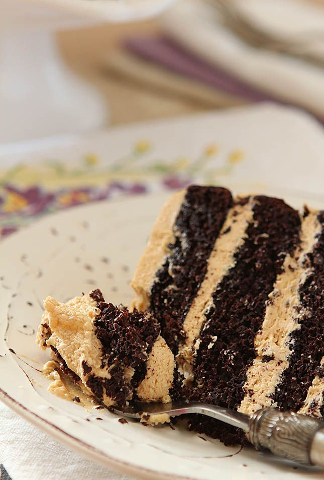 An Espresso Chocolate Cake with Peanut Butter Frosting and a Rum Drizzle is beautiful and decadent and so delicious.